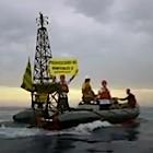 Greenpeace voor actie tegen olieboringen bij Canarische Eilanden - foto: Greenpeace.